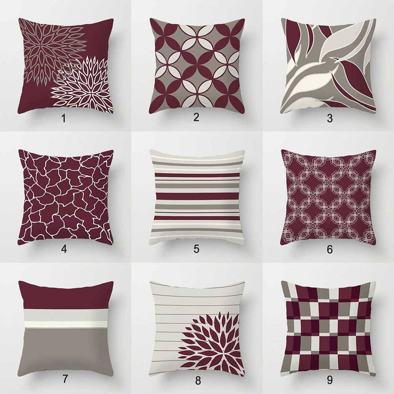 Burgundy Pillow Covers Throw Pillows Wine Dark Red Maroon  1deb6e8098