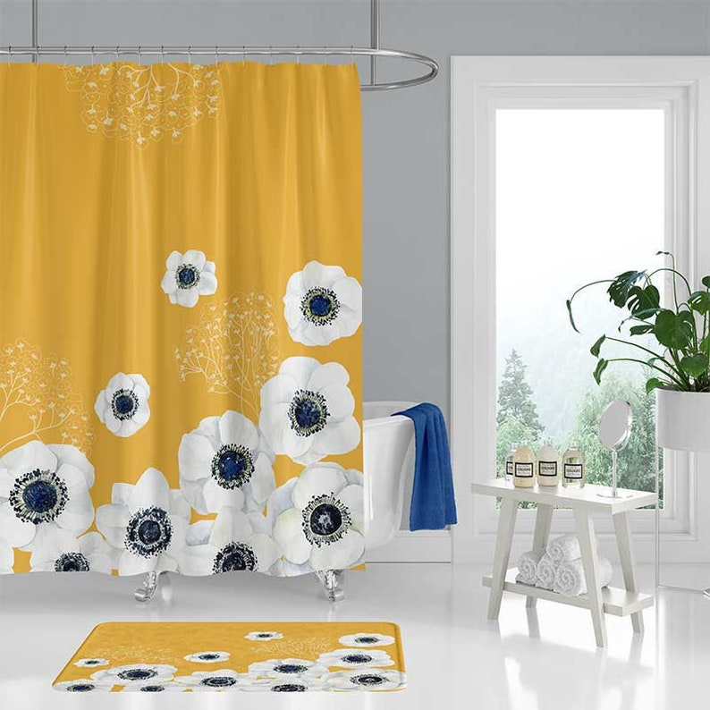 Yellow Shower Curtain With White And Blue Flowers Floral