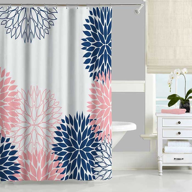 Blue And Pink Shower Curtain And Bath Mat Set Navy And Pink Etsy