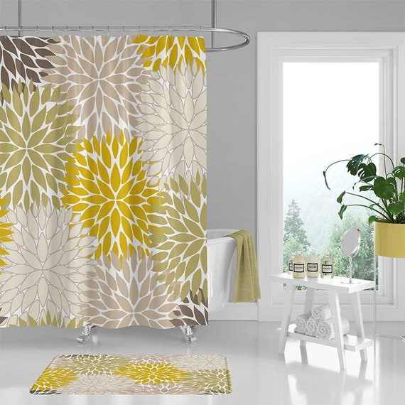 Floral Shower Curtain Set Bath Mat Dahlia Mustard Yellow