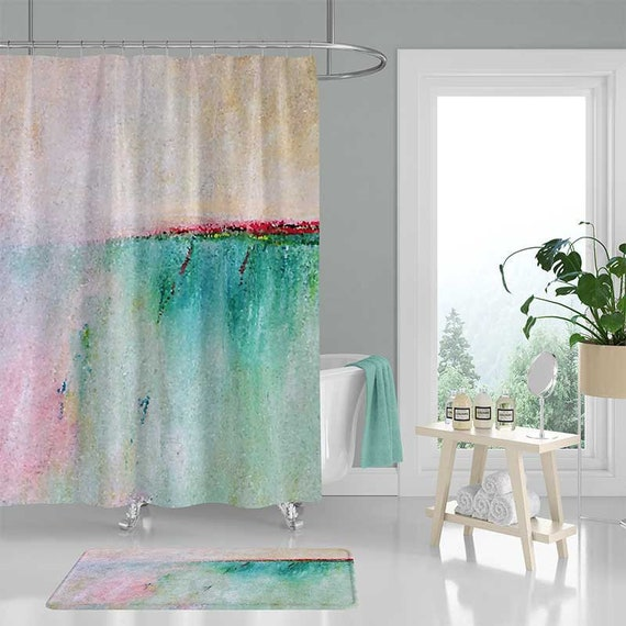 Art Shower Curtain Set Bath Mat Bathroom Rug Pink Blue Teal