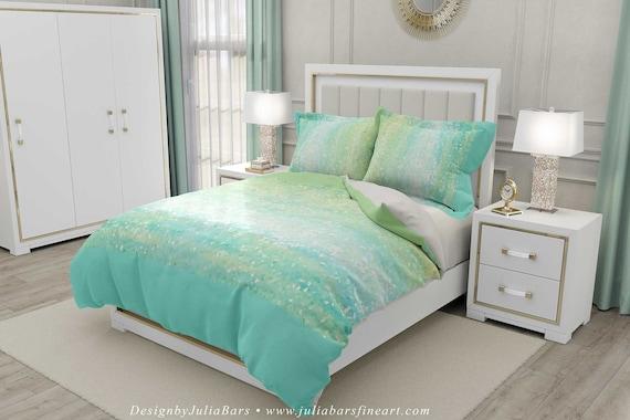 Mint Green Duvet Cover Seafoam Green Aqua Blue Abstract Duvet Cover Mint Pillow Shams Bed Cover Bedroom Decor King Queen Twin