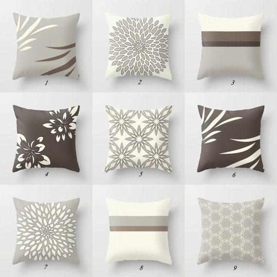 Decorative Pillows Brown Beige Gray Throw Pillows Brown Etsy Delectable Gray And Beige Decorative Pillows
