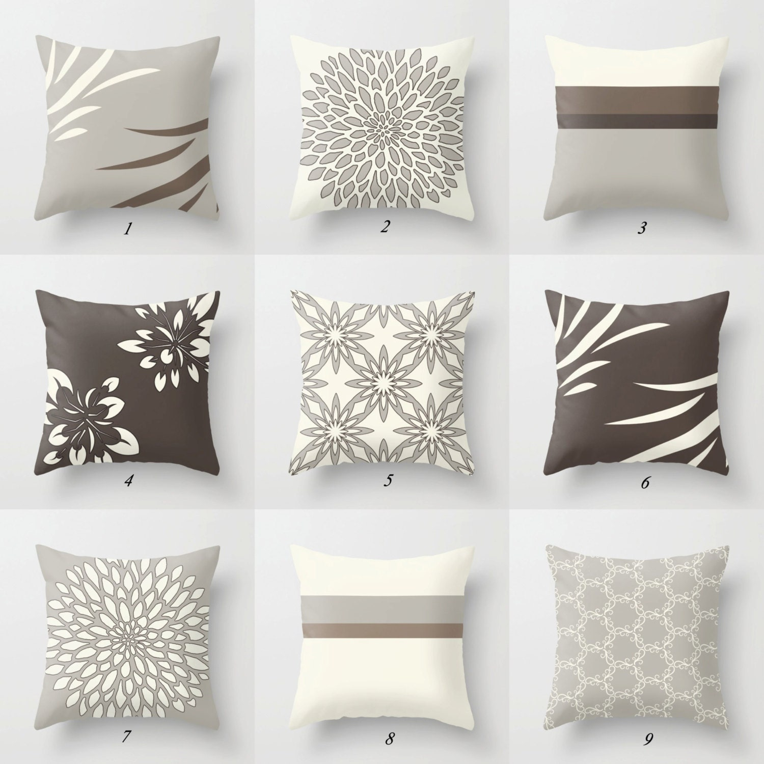 Gray Couch Pillows: Decorative Pillows Brown Beige Gray Throw Pillows Brown