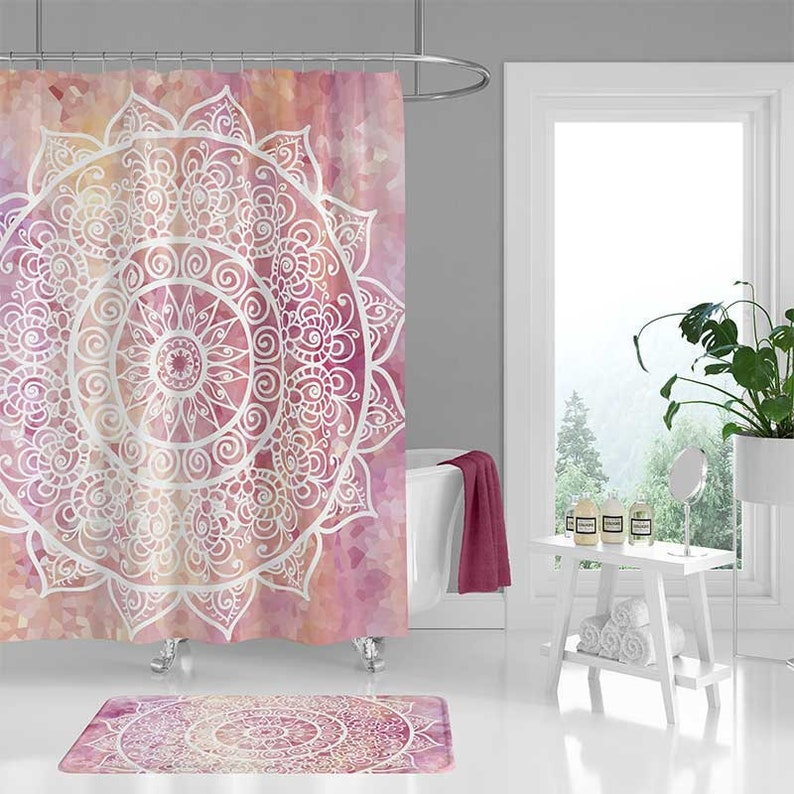 Mandala Shower Curtain Set Bathroom Mat Yellow White Pink