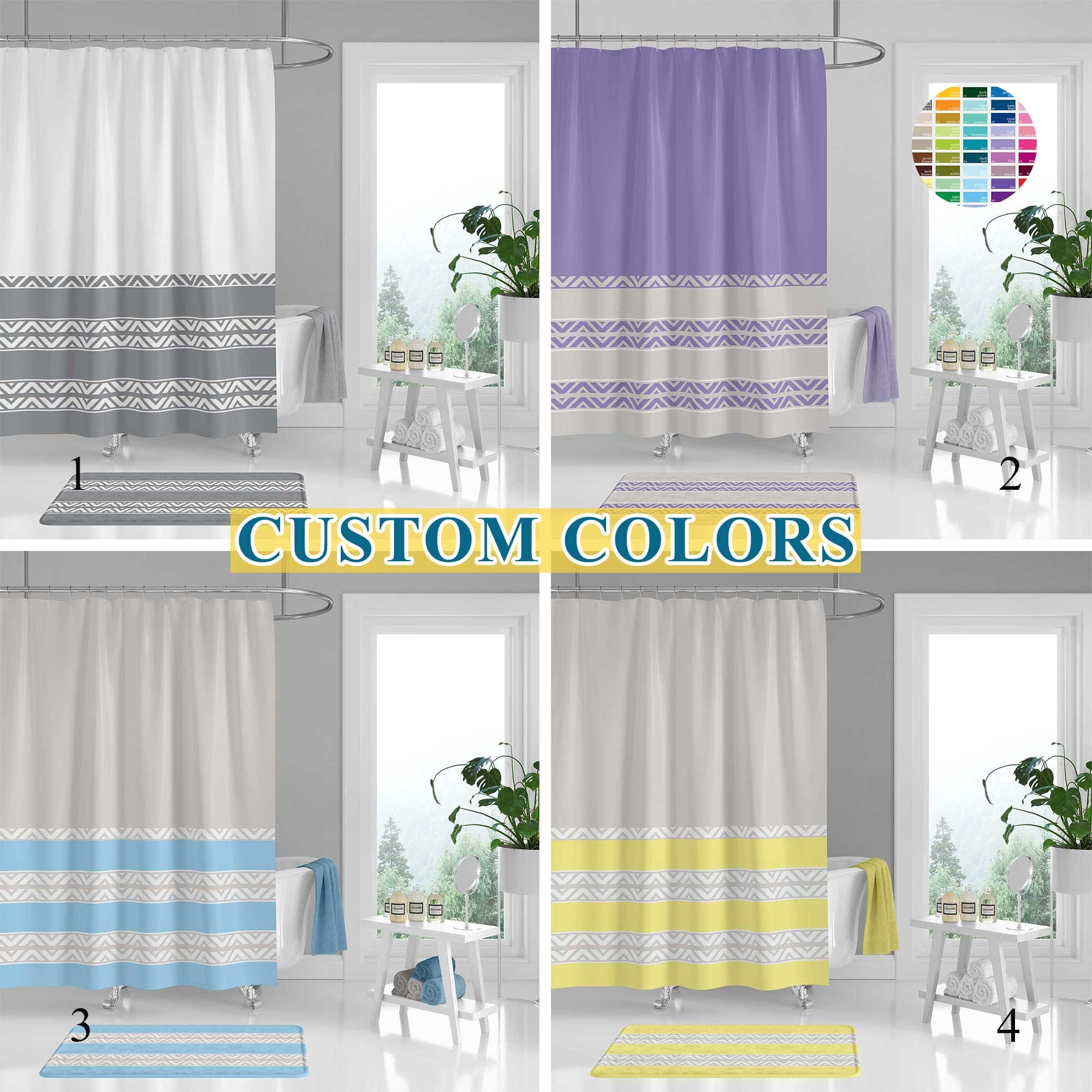 Striped Shower Curtain Set Bath Mat Chevron Minimalist Elegant Customizable Bath Curtain Unique Gray Blue Lavender Yellow White