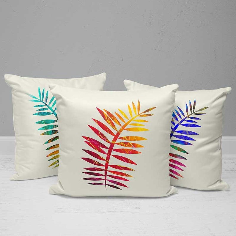 Outdoor Pillows Outdoor Cushions Palm Leaf Pillow Covers Tropical Pillow Mix Match Patio Pillows Decorative Throw Pillows Teal Red