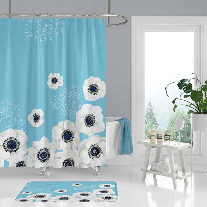 Floral Shower Curtain Set Bathroom Rug White Light Blue Bath C