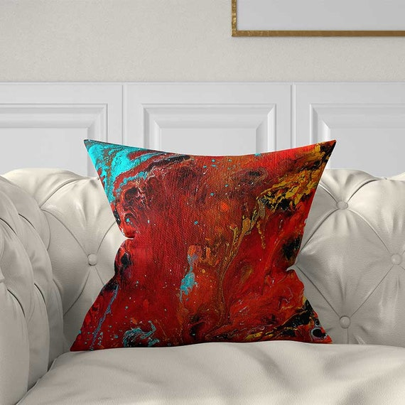 Remarkable Red Pillow Cover Black Yellow Teal Throw Pillow Covers Abstract Pillow Art Pillow Couch Pillows Red Cushion Covers Decorative Pillow Andrewgaddart Wooden Chair Designs For Living Room Andrewgaddartcom