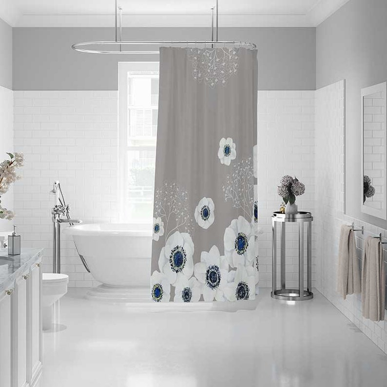 Beige Gray Shower Curtain Set Bath Mat Grey Blue White