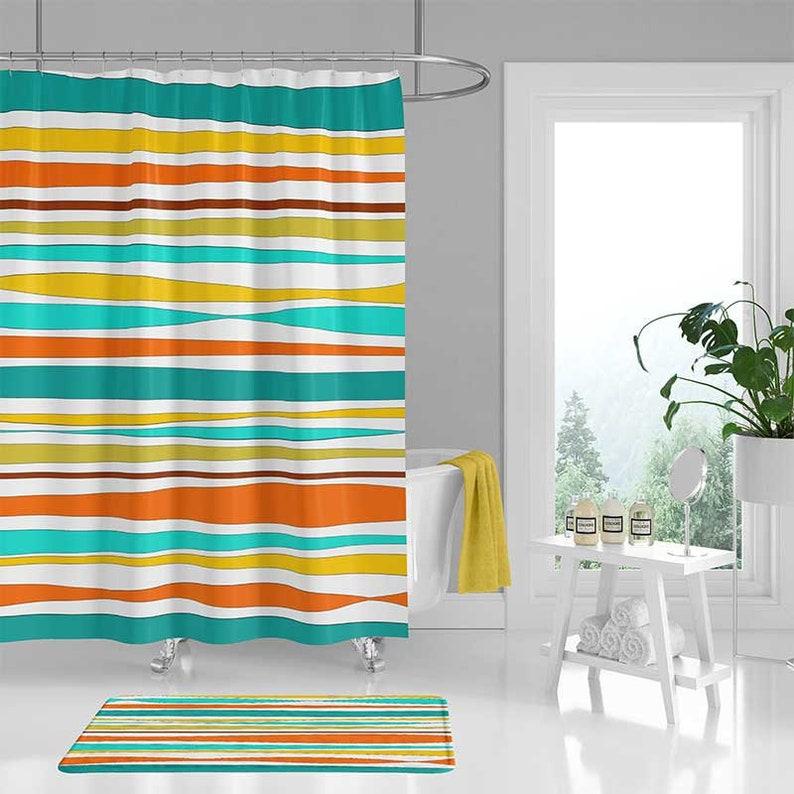 Shower Curtain Bath Mat Striped Yellow