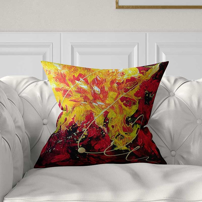 Red Pillow Covers Yellow Throw Pillows Abstract Pillows Art Etsy