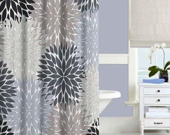 Gray Shower Curtain Black Blue Beige Bathroom Modern Decor Floral