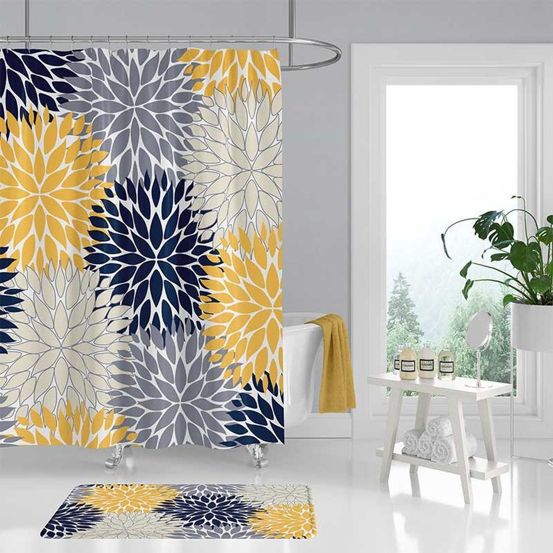Blue And Yellow Shower Curtain Dahlia Floral