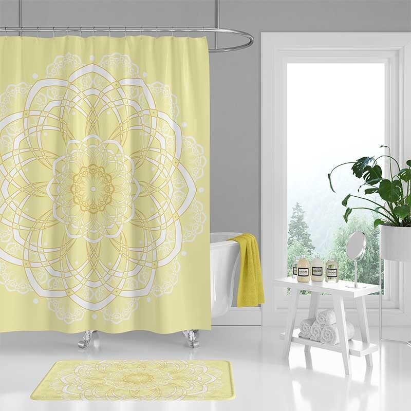 Yellow Shower Curtain White Mandala, Yellow And White Shower Curtains