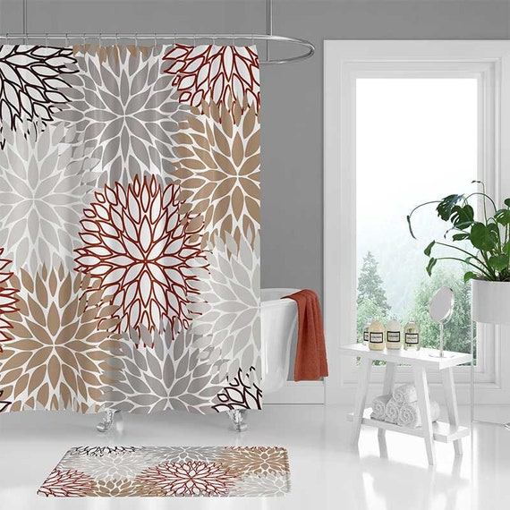 Beige Brown Shower Curtain Neutral Red Gray Bathroom Curtain Etsy