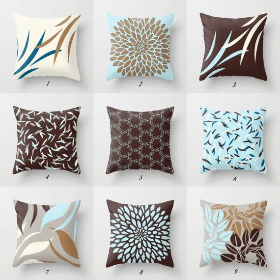 Azul y marrón almohadas fundas azules cojines cojines | Etsy