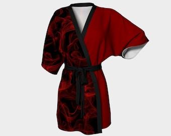 Chiffon Kimono, Red Kimono Robe, Bath Robe, Red and Black, House Robe, Beach Cover Up, Silky Robe, Beach Robe, Womens Kimono, Dressing Gown