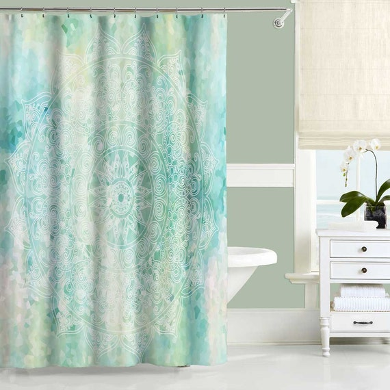 Mint Green Shower Curtain and Bath Mat, Mandala Shower Curtains, Bathroom  Decor, Turquoise Aqua Blue Bathroom Curtain, Bath Curtain 71x74
