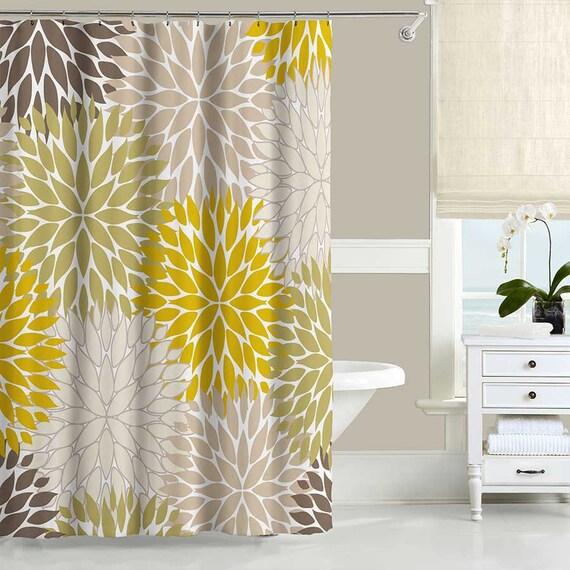 Floral Shower Curtain Set Bath Mat Dahlia Mustard Yellow