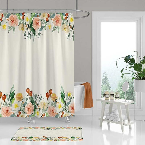 Watercolor Shower Curtain Floral Bathroom