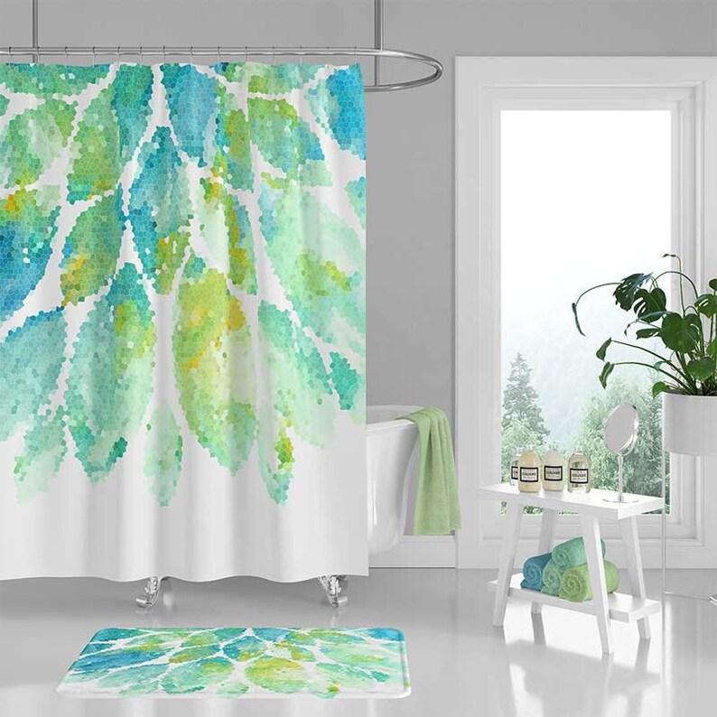 Shower Curtain Mint Green Aqua Blue White Bath