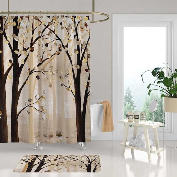 Brown Shower Curtain Set Bath Mat Trees Shower Curtain Bath Etsy