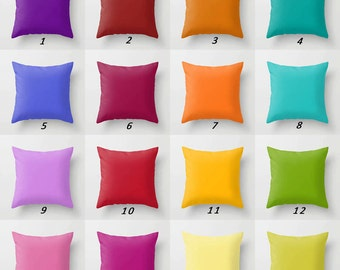 Decorative Pillows, Solid Pillow Covers, Colorful Throw Pillows, Blue Purple Orange Red Yellow Green Pink Lavender Cushion Covers