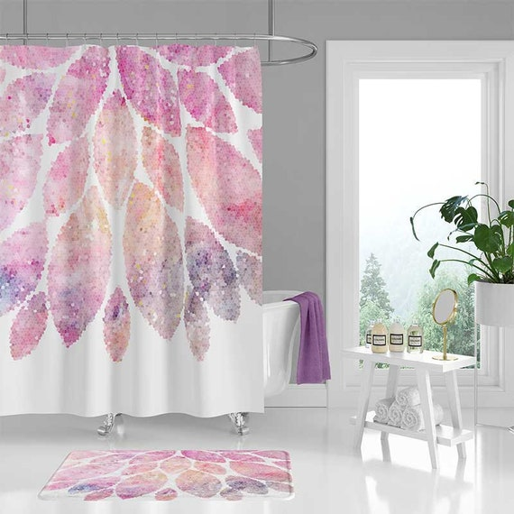 Pink Shower Curtain And Bath Mat Floral Curtains