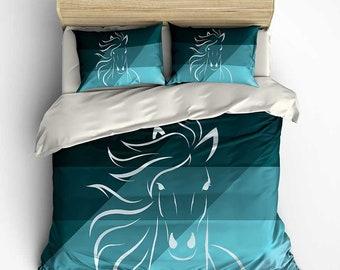 Horse Duvet Cover, Comforter, Black Turquoise Teal Bedding Set, Doona Cover, Duvet Cover Queen, Pillow Shams Kids Bedding Boys Bedroom Decor