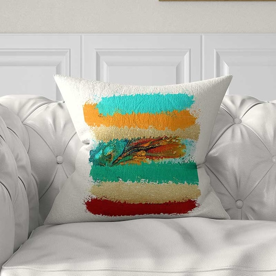 Fabulous Colorful Pillow Covers Turquoise And Orange Pillow Teal Red Yellow Throw Pillows Color Block Pillow With Art Pillow Covers 20X20 24X24 Creativecarmelina Interior Chair Design Creativecarmelinacom