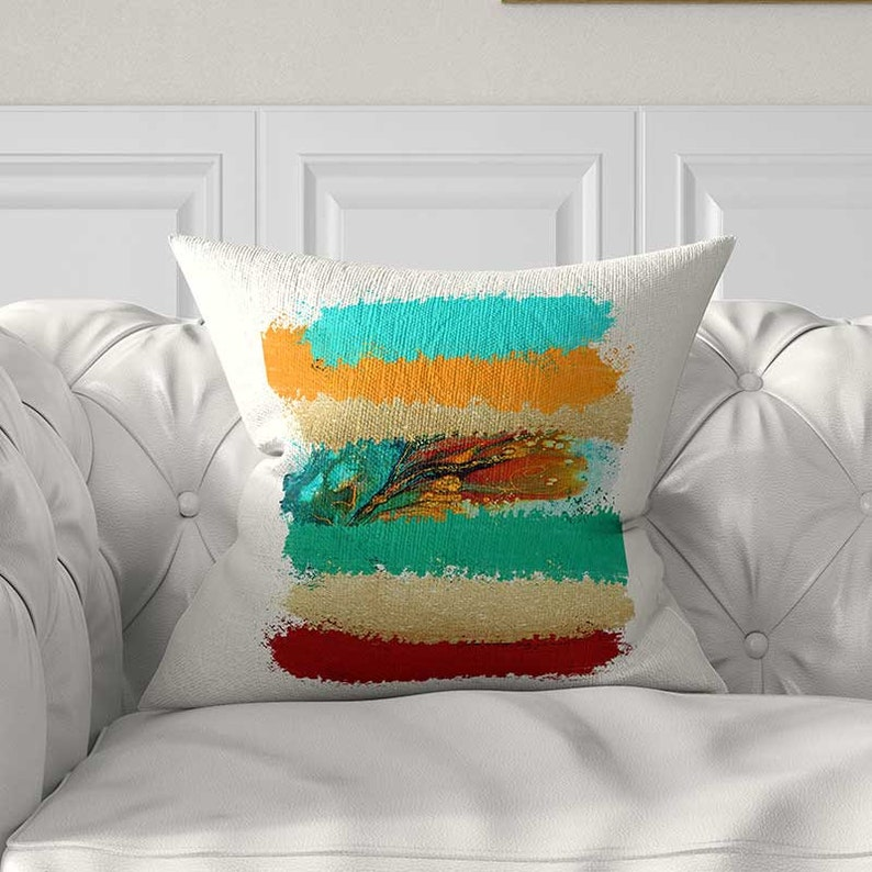 Colorful Pillow Covers Turquoise And Orange Pillow Teal Red Etsy