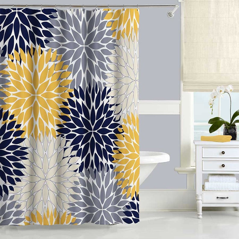Blue And Yellow Shower Curtain Dahlia Floral Shower Curtain Etsy