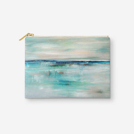Makeup Pouch Accessory Bag Turquoise Blue Abstract Cosmetic Bag Makeup Bag Travel Pouch Zipper Clutch Gift For Her Gift Under 20