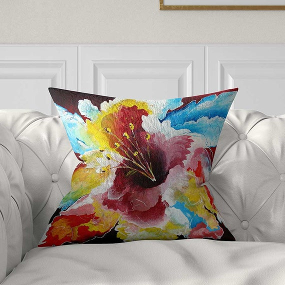 Brilliant Floral Pillow Cover Throw Pillows Red Blue Yellow Flower Pillows For Couch Hibiscus Pillow Tropical Pillow Cushions Accent Pillows Creativecarmelina Interior Chair Design Creativecarmelinacom