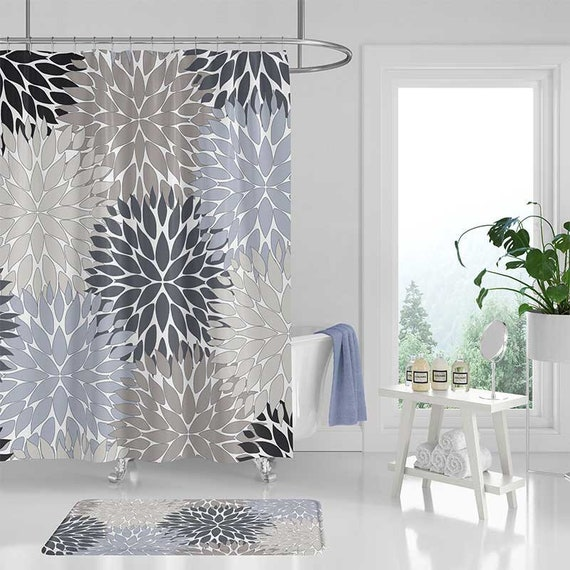 gray shower curtain bathroom rug blue black beige bathroom etsy. Black Bedroom Furniture Sets. Home Design Ideas