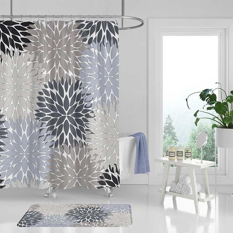 Gray Shower Curtain Bathroom Rug Blue, Black And Cream Shower Curtain