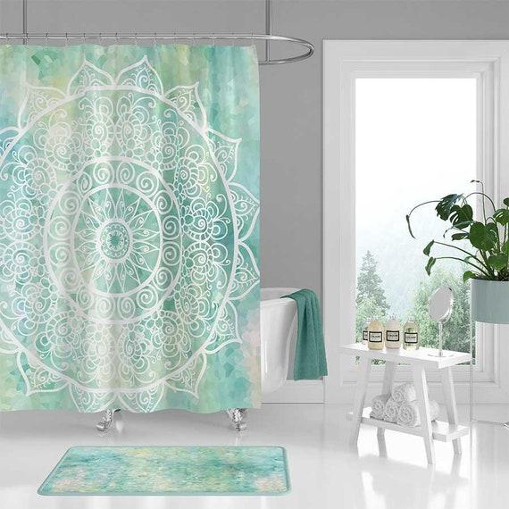 Mandala Shower Curtain Bathroom Set Bath Mat Blue Turquoise