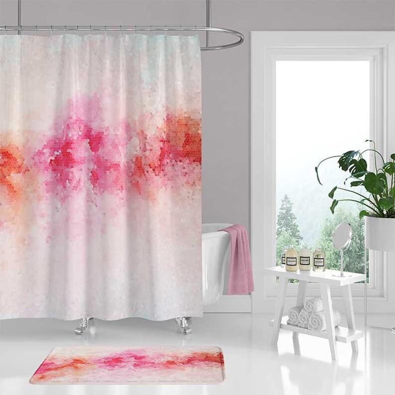 Pink Peony Shower Curtain Bath Mat Abstract Art