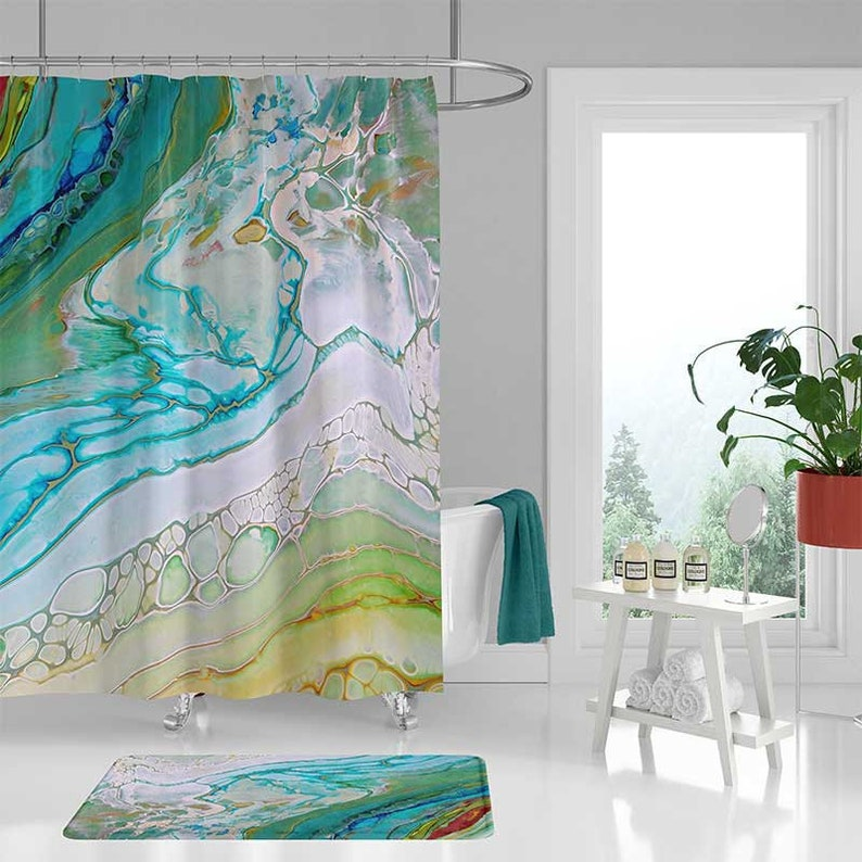 Coastal Shower Curtain Set Bath Mat Sea Foam Green Blue