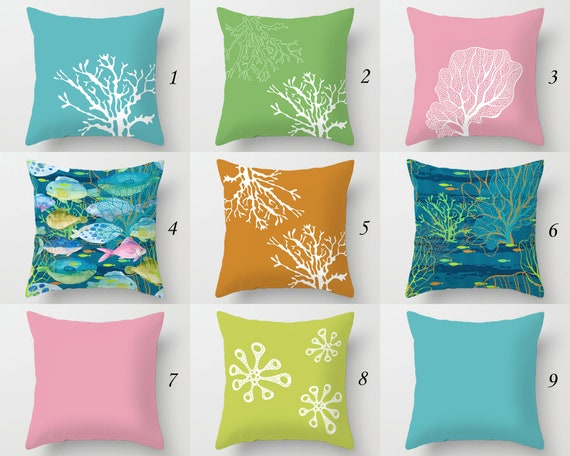 OUTDOOR Pillow Covers Nautical Fish