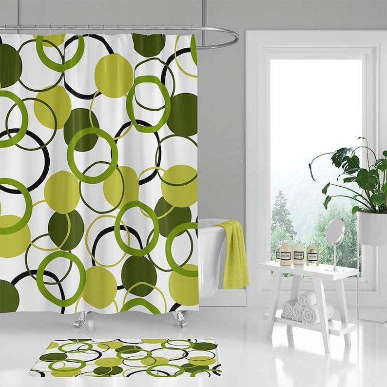 Rideau de douche vert tapis de sol de salle de bain blanc   Etsy