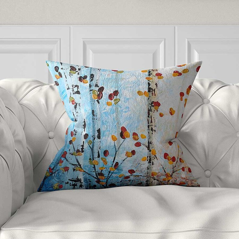 Blue Throw Pillow Cover Tree Pillow Red Yellow Blue Pillows Etsy
