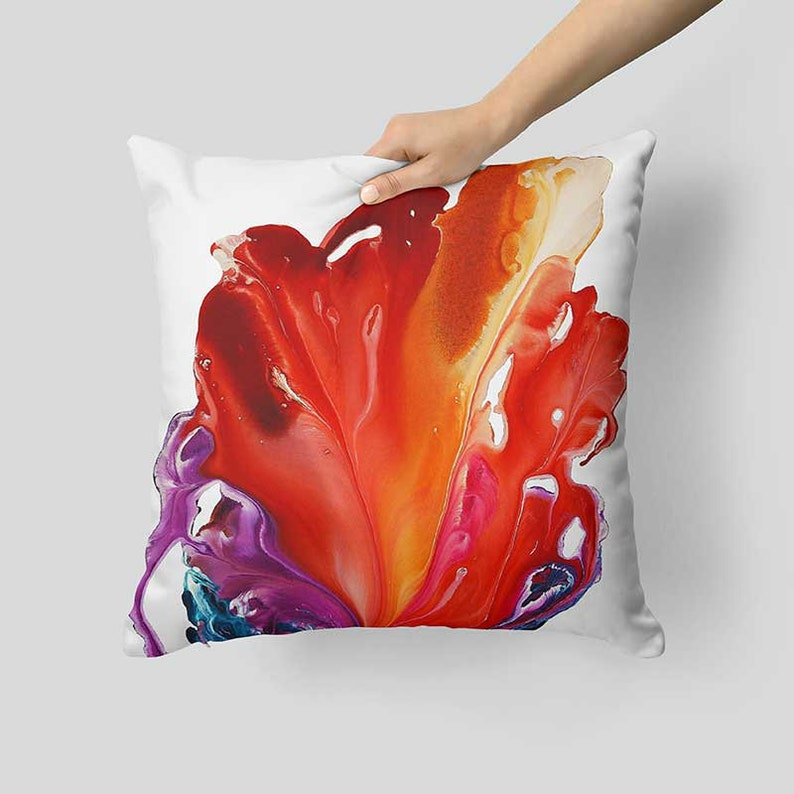 Abstract Pillow Sham White Orange Red Purple Art Pillow Case Pillows for Couch Red Pillow Cover Floral Throw Pillow Cover Cushion Cover