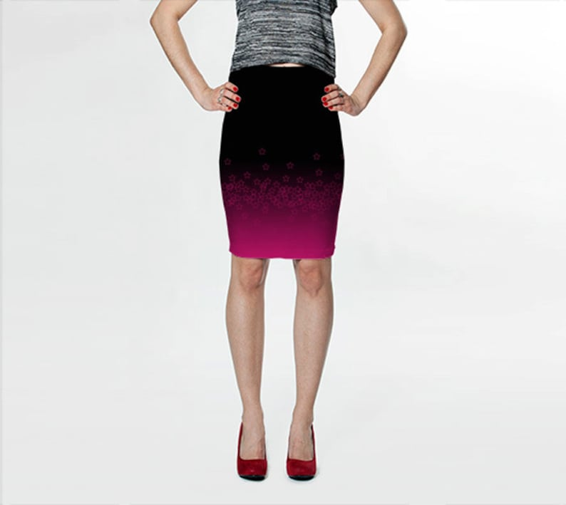 4f64872360c Black Pencil Skirt Black and Purple Fitted Skirt Magenta