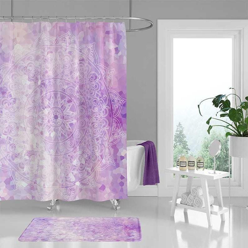 Purple Shower Curtain Lavender Pink Mandala Curtains