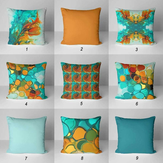 Phenomenal Throw Pillows Teal Orange Pillow Covers Decorative Pillows Cushions Abstract Pillow Colorful Pillows Mix And Match Blue Turquoise Green Theyellowbook Wood Chair Design Ideas Theyellowbookinfo