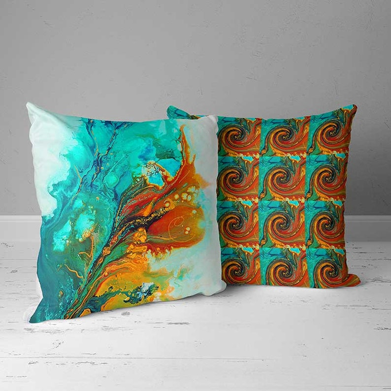 Blue Turquoise Teal Orange Colorful Porch Pillow Cases OUTDOOR Pillow Covers Summer House Decor Decorative Patio Cushion Covers