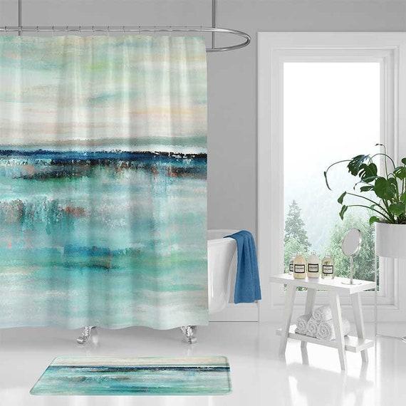 Beach Shower Curtain And Bath Mat Abstract Seascape