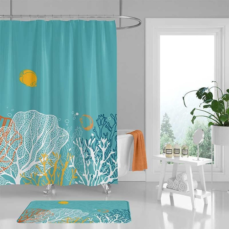 Underwater Shower Curtain Coral Reef Curtains And Bath